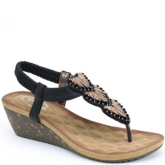 e75cbb39f3f Black low COMFORT WEDGE sandal w  bling